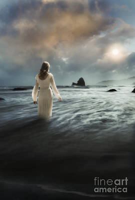 Lady Wading Into The Sea In The Early Morning Art Print by Jill Battaglia
