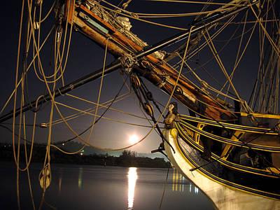 Lady Washington - Moonlight On Coos Bay Art Print by Gary Rifkin