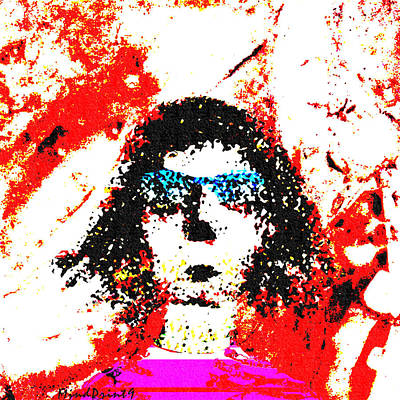 Digital Painting - Lady Wearing Blue Glasses by Asok Mukhopadhyay