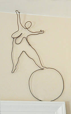 Lady With 1 Foot On The Ball   Art Print by Tommy  Urbans