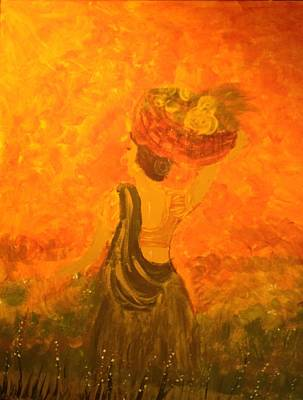 Art Print featuring the painting Lady With A Basket by Brindha Naveen