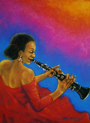 Pastel - Lady With A Clarinet by Terry Jackson