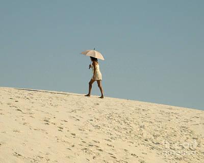 Lady With Umbrella On Sand Dune Art Print by Patricia Januszkiewicz