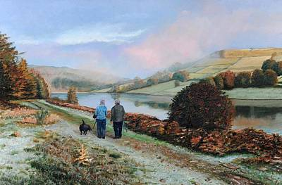Bank Clouds Hills Painting - Ladybower Reservoir - Derbyshire by Trevor Neal