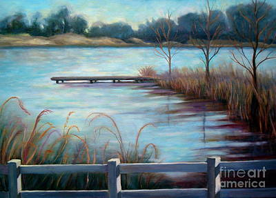 Art Print featuring the painting Lake Acworth Dock by Gretchen Allen
