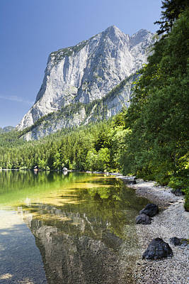 Styria Photograph - Lake Altausseer See And Mount Trisselwand by Jorg Greuel