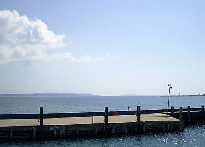 Lake Huron Harbor And Mackinaw Island View - Michigan Art Print by Monica C Stovall