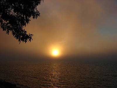Mixed Media - Lake Huron Sunset Through The Fog by Bruce Ritchie