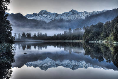 Fox Glacier Photograph - Lake Matheson In Predawn Winter Light by Colin Monteath