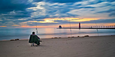 Photograph - Lake Michigan Fishing by Larry Carr