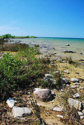 Art Print featuring the photograph Lake Michigan Shoreline On A Sunny Afternoon by Janice Adomeit