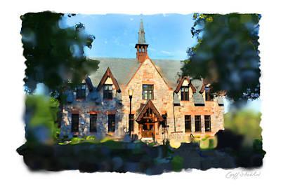 Library Digital Art - Lake Mills Library by Geoff Strehlow