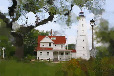 Keepers Cottage Digital Art - Lake Park Lighthouse by Geoff Strehlow