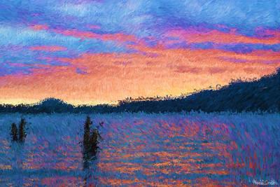 Lake Quinault Sunset - Impressionism Art Print by Heidi Smith