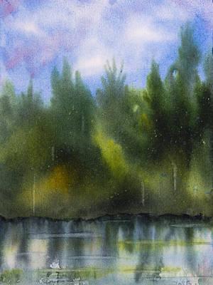 Lake Reflecting Trees Art Print by Debbie Homewood