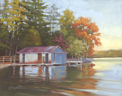 Boathouse Painting - Lake Wylie Boathouse by Todd Baxter