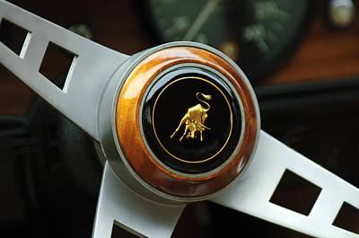 Photograph - Lamborghini Steering Wheel Emblem by Jill Reger