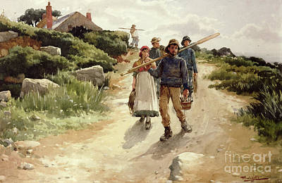 Walking To School Painting - Lamorna Cove Cornwall by Walter Langley