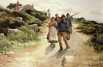 Genre Painting - Lamorna Cove Cornwall by Walter Langley