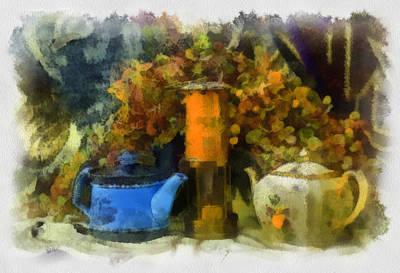 Lantern Digital Art - Lamp And 2 Pots by Dale Stillman