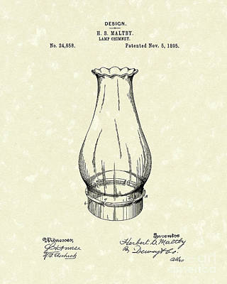 1890s Drawing - Lamp Chimney 1895 Patent Art by Prior Art Design