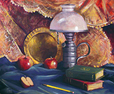 Painting - Lamp With Apples by Nancy Griswold