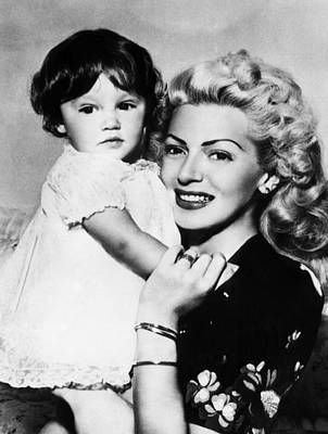 Lana Turner Right, And Daughter Cheryl Print by Everett