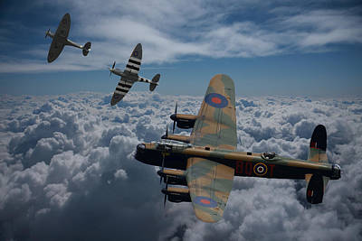 Lancaster Bomber And Spitfires Art Print