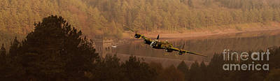 Lancaster Over The Dams Art Print by Nigel Hatton