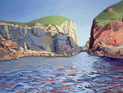 Rocky Painting - Land And Sea No I - Ramsey Island by Anna Teasdale