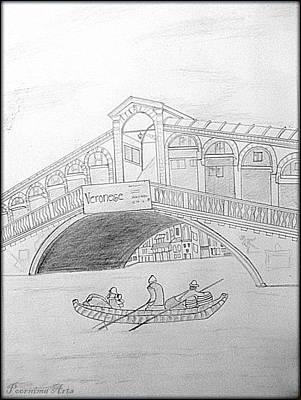 Drawing - Land Mark   San Marco Square  Venice by Poornima M