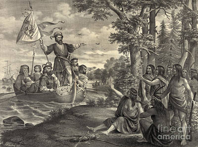 Colonial Man Photograph - Landing Of Christopher Columbus by Photo Researchers