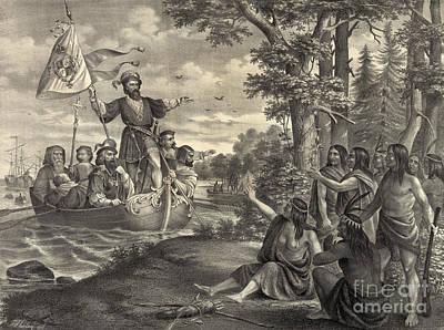 Landing Of Christopher Columbus Art Print