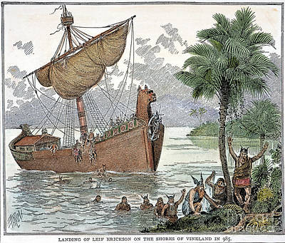 Leif Photograph - Landing Of Leif Ericsson by Granger