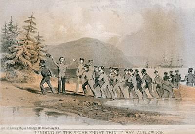 Landing Of The First Atlantic Telegraph Art Print by Everett