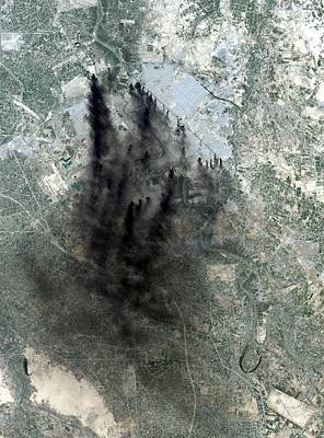 Landsat Image Of Baghdad Showing Dark Art Print by Everett
