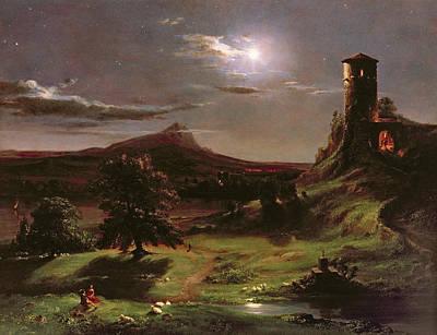 Landscape - Moonlight Art Print by Thomas Cole