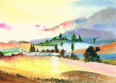 Christmas Holiday Scenery Painting - Landscape 1 by Anil Nene