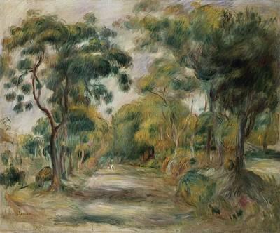 People Walking Painting - Landscape At Noon by  Pierre Auguste Renoir