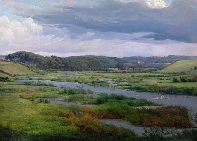 Marsh Grass Painting - Landscape Near Ribe Denmark by Frederik Kiaerskou