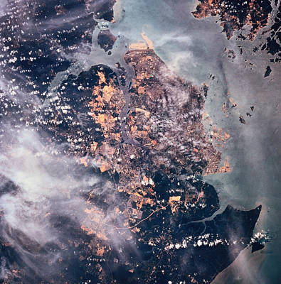 Landscape Of The Earth Viewed From Space Art Print by Stockbyte