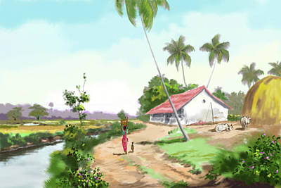 Tamilnadu Painting - Landscape by Seni
