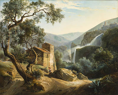 Mountain Valley Painting - Landscape With A Waterfall by Achille Hector Camille Debray