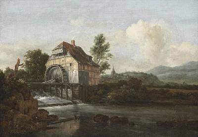 Water Wheel Painting - Landscape With A Watermill by Jacob Isaaksz Ruisdael