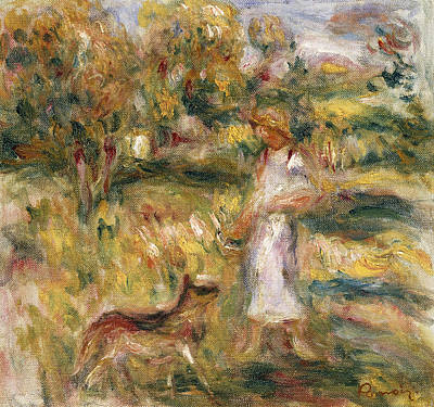 Landscape With A Woman In Blue Art Print by Pierre Auguste Renoir