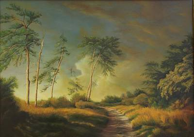 Peisaj Painting - Landscape With Pine Trees  by Dan Scurtu