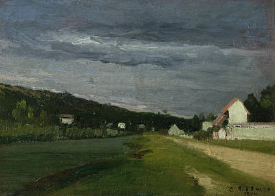 Brewing Painting - Landscape With Stormy Sky by Camille Pissarro