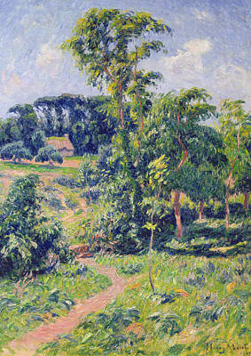 Cloudy Day Painting - Landscape With Trees And A Path Leading To A Cottage  by Henry Moret