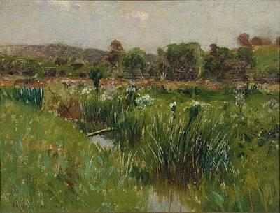 Landscape With Wild Irises Art Print by Bruce Crane
