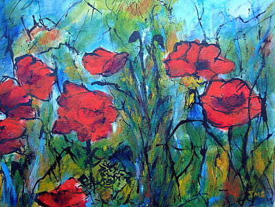 Languedoc Poppies No 4 Art Print by Jackie Sherwood